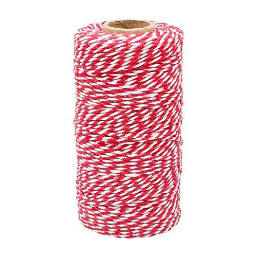 jijAcraft Spago Natalizio Rosso e Bianco Corda di Cotone da 100M per Confezioni Regalo, Artigianato, Cucina, Decorazione (2mm)