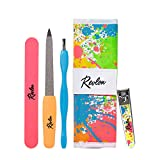 Revlon Issac Mizrahi Designer Collection Manicure Essentials Kit, 4 Pc Set includes Dual Ended Cuticle Trimmer, Curved Blade Nail Clipper, Emeryl File & Nail Buffer