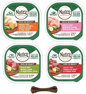 Nutro Small Breed Petite Adult Wet Dog Food - Natural & Grain Free - 4 Flavor Variety Pack - 8 Trays, 3.5 Oz Each - Plus Dog Bone & Eco Friendly Poop Bags (10 Items Total)