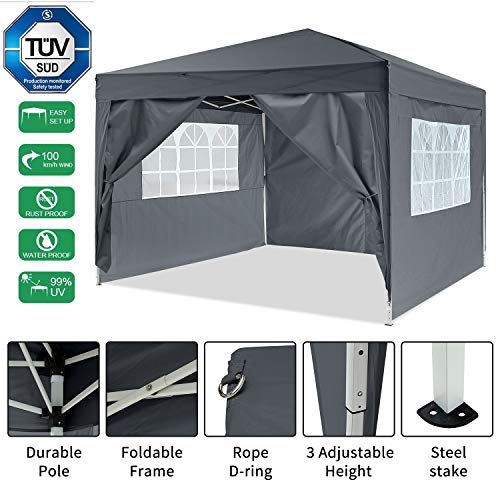 Bunao Gazebo/Tonnelle de Jardin Tente de réception 3x3m pavillon imperméable Tente Pliante de Jardin (Noir1)