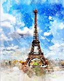 Eiffel Tower Lined Notebook: Blue Watercolor Notebook With Clouds | Inspirational Journal For NoteTaking | Blank Lined Note Book For Affirmations | Aesthetic pink notebook for journaling