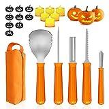 Halloween Kürbis Schnitzset, 5 Stück Edelstahl Schnitzwerkzeug mit 6 LED Kerzen, 9 Schnitzen von Schablonenaufklebern und 1 Aufbewahrungstasche,...