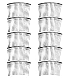 10個入り 髪の櫛 髪留め アーチ型 ラインコーム 平面タイプ ヘアアクセサリー クレセントコーム髪飾り 全3種 - 銀
