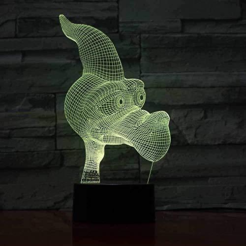 Perro de dibujos animados 3D Luz de noche LED Luz sinfónica Conversión de 7 colores Iluminación USB Decoración del hogar Gadgets Regalos únicos para adolescentes