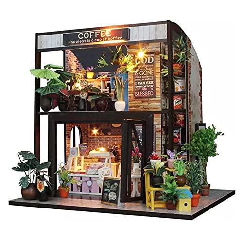 PPQQBB Casa de muñecas Miniatura DIY Casa Kit Habitación Creativa con Muebles para el Regalo romántico de San Valentín (Tiempo de café)