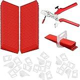 100 Cuñas + 100 Arandelas Niveladoras + Alicates, Sistema de Nivelación de Baldosas, Kit de Herramientas de Instalación de Baldosas, para Herramientas de Baldosas (Rojo y Transparente)