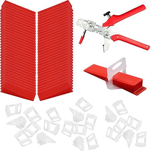 100 Cuñas + 100 Arandelas niveladoras + alicates,Sistema de Nivelación de Baldosas, Kit de Herramientas de Instalación de Baldosas, para Herramientas de Baldosas (Rojo y Transparente)