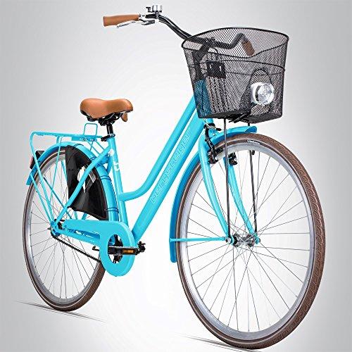 Bergsteiger Amsterdam 26 Zoll Damenfahrrad, ab 140 cm, Korb, Fahrrad-Licht, Mädchen-Fahrrad mit Rücktrittbremse, Hollandrad im Retro-Design
