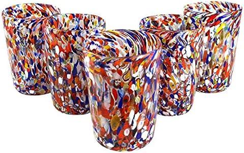 Juego de 6 vasos Coriandoli en Venecia - Cristal de Murano original