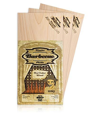 Axtschlag Grillbretter Zeder, 3 Wood Planks zum schonenden Garen mit aromatischer Rauchnote und Servieren, für alle Grills, 300x150x11 mm, mehrfach verwendbar