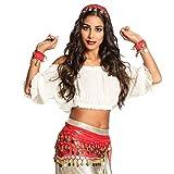 NET TOYS Emocionante Disfraz Gitana Set de Disfraz para Dama - Rojo-Dorado - Original Accesorio para Mujer Vestimenta adivina - Insuperable para Carnaval y Fiesta de Disfraces
