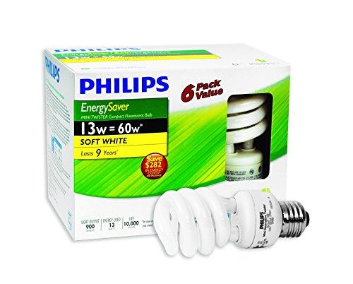 Philips 431122 CFL 13W = 60W Mini Twister Soft Light Bulb White (2700K) 6 Pack