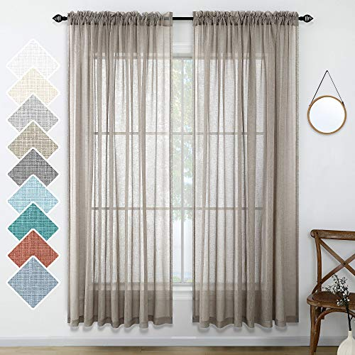 Taupe Curtains 84 Inches Long for Living Room 2 Panels Rod Pocket Linen Look Weave Textured Window Drape Light Filtering Curtain Semi Sheer for Bedroom Dining Rustic Farmhouse Style 52x84 Length Brown