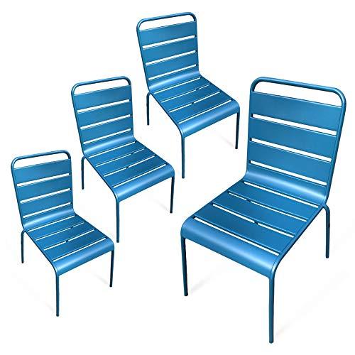 RED DECO Chaises de Jardin métal Montmartre Bleu Canard x4