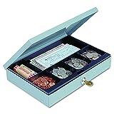 STEELMASTER Heavy-Duty Steel Low-Profile Cash Box w/6 Compartments, Key Lock, Gray (221618001)
