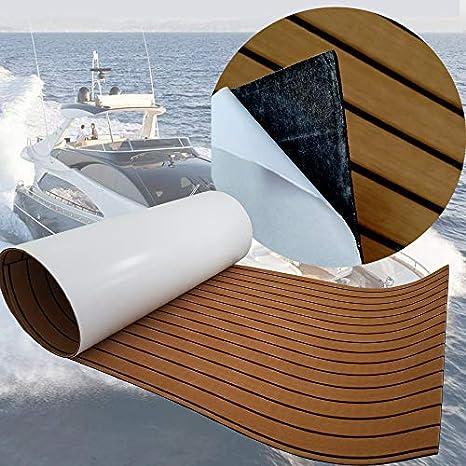 EVA Foam Faux Teak Non-Slip Marine Flooring Mat SOOMJ Eva Synthetic Teak Deck Mat Boat Yacht Flooring Synthetic Teak Decking Pad Light Grey with Black Lines