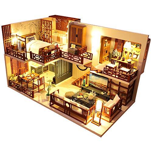 CuteBee DIY木製ドールハウス、QUIET TIME 、ミニチュアコレクション、LEDライト、オルゴール、プレゼント、電池AAA*2必要 (M025)