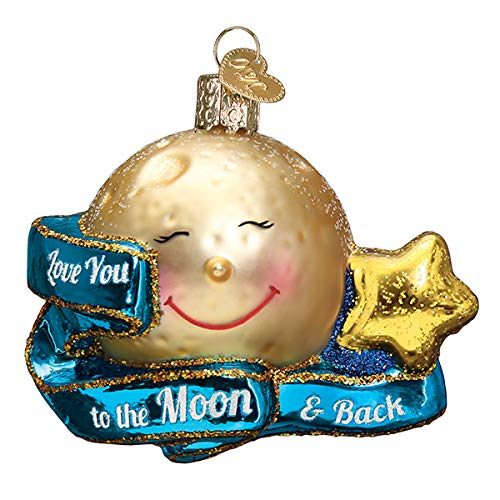 Old World Christmas Ornaments Love You to The Moon & Back Glass Blown Ornaments for Christmas Tree