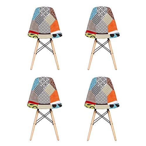 EGOONM Conjunto de 4 Sillas Sillas de Comedor de Patchwork, Sillas de Sala de Estar de Ocio, Silla de Estilo nórdico (Rojo-01)