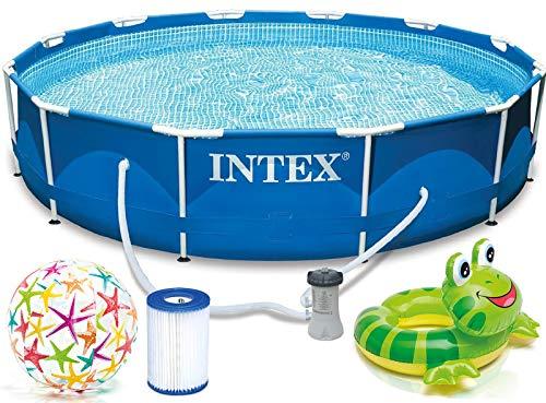 INTEX 366x76 cm Prism Metal Frame Swimming Pool Schwimmbecken 28212 Komplett-Set mit Extra-Zubehör wie: Schwimmring und Strandball