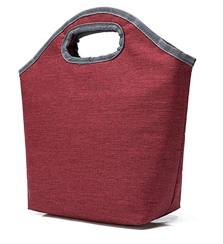 Lunch Bag Lunch Tote, Thick Resulated Insulated Lunch Bag Lunch Box Trarying Sac à Main Sac à Zipper Bag Outdoor Travel Pique-Nique Rouge