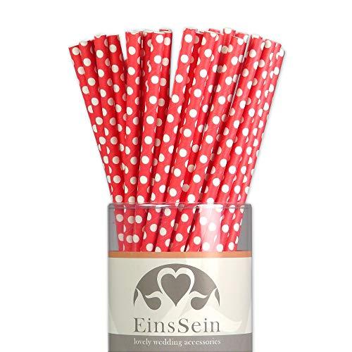 EinsSein 25x Papierstrohhalme Dots rot Hochzeit Party Geburtstag Strohhalme Trinkhalme Cake Pops Sticks und Candy Bar-Zubehör Stiele Papier Pappgeschirr Straws