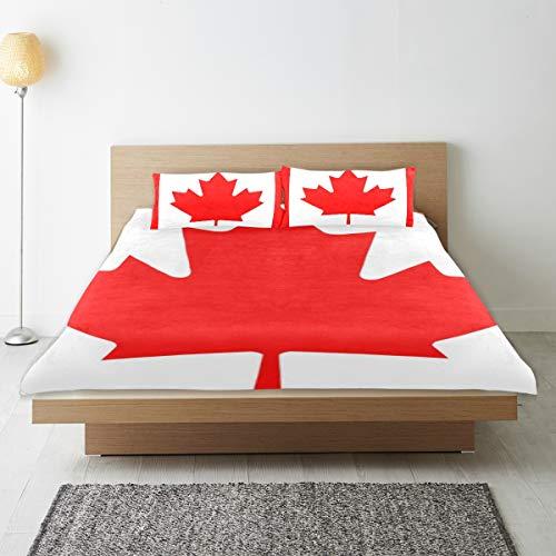 DEZIRO - Juego de funda de edredón para adolescentes, diseño de la bandera de Canadá de algodón natural puro de tamaño individual con 2 fundas de almohada para decoración de dormitorio de niños, 3 piezas