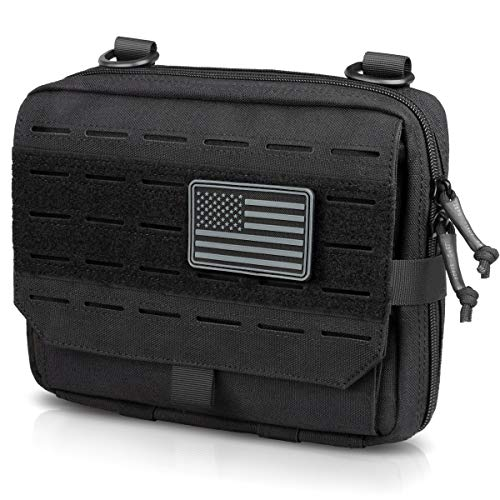 WYNEX Tactical Molle Admin Pouch of Tri-Fold Open Design, Molle Tool Pouch First Aid Pouch EDC Utility Pouches Tools Bag Molle Attachment Organizer Include U.S.A Flag Patch
