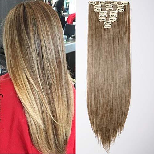 "Clip in Extensions Haarverlängerung Haarteil 8 Tresssen wie Echthaar glatt Aschbraun Mix Bleichblond 23""(58cm)-140g"