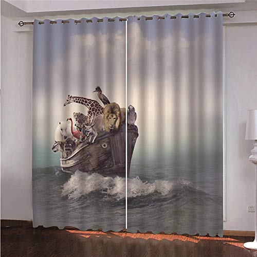QHDHGR Curtain Marine life Eyelet Super Soft Thermal Insulated Window Treatment Bedroom Blackout Eyelet Blackout Curtains for Livingroom 2 Panels size: 2 x W46 x H90 Inch