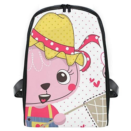 ELIENONO Cartoon niedlichen Kaninchen tragen Sommerkleid,Laptop Rucksack für Männer Schulrucksack Multifunktionsrucksack Mini Tagesrucksack für Schule Wandern Reisen Camping