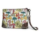MGBWAPS Mushrooms - Bolso de mano de mano de cuero, bolsa de cosméticos, muñequeras de embrague, (Como se muestra), Talla única