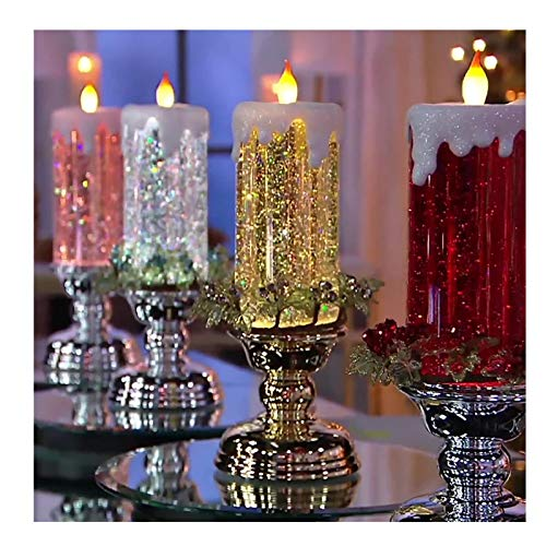 Rotating Color Changing Glitter LED Candle Light,...