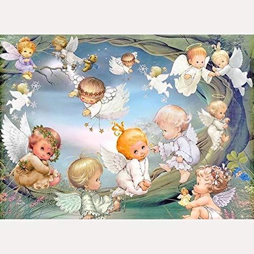 Bimkole 5d Diamond Painting Kit Bricolaje Arte ángel, Guirnalda De Hierba Pintura Diamantes Kits Estampados De Punto De Cruz Diamantes de Imitación Decoración de Pared, (30x40 cm)
