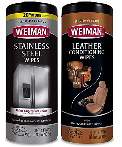 Weiman Stainless Steel Wipes and Leather Wipes - Clean and Polish Appliances for a Brighter and Longer Shine - Clean, Condition and Restore Leather Surfaces - Packaging May Vary