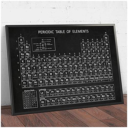 Tabla periódica de química, lienzo, elementos de arte Giclee, póster, pintura, cuadro de química, tabla periódica, decoración de pared de laboratorio, (con marco)