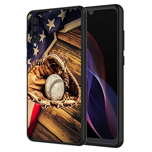 Galaxy A10E Case, AIRWEE Slim Shockproof Silicone TPU Back Protective Cover Case for Samsung Galaxy A10E,American Flag Baseball