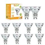 Bojim lampadina LED GU10, 6W GU10 LED Bianco Naturale 4000k 550lm Equivalenti 60W Lampada Alogena, Faretti GU10 In Vetro, Non Dimmerabile, Angolo del Fascio 36°, CRI > 80, 10 Pack, Per Uso Interno