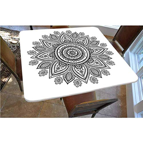 Henna Polyester Fitted Tablecloth,Sunflower Pattern in Doodle Style with Geometrical Elements Circles and Lines Print Square Elastic Edge Fitted Table Cover,Fits Square Tables 36x36 Black White