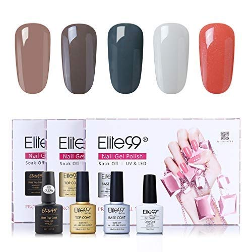 Elite99 klassieke kleuren UV nagellak 5 kleuren met toplaag en onderlaag, base en top coat gel nagellak UV LED, mes set voor nagel ontwerp gel lak, nail art set 006