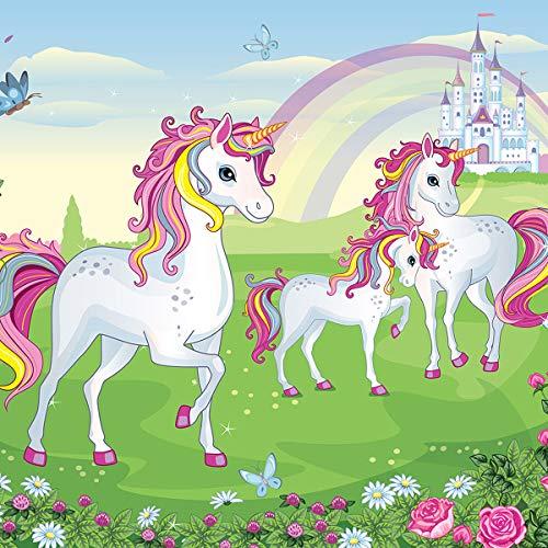 Consalnet Carta da Parati unicorni Rosa Verde per Bambini 13239VEXL 208x146 cm 2 Strisce in Tessuto Non Tessuto Facile da installare, 130 g/mq, Colla Inclusa, Stripe(s)
