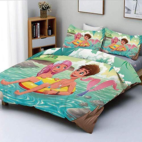 Juego de funda nórdica, niño adolescente y linda sirena nadando juntos en la isla tropical Ilustración de amor divertido Juego de ropa de cama de 3 piezas con 2 fundas de almohada, multicolor, Bes
