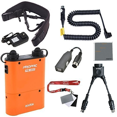 Fomito Godox PB960 Portable Extended Flash Power Battery Pack Kit Dual Output for Canon 600EX 580EX II 580EX 550EX 540EZ 430EZ, for Yongnuo Flashes, for AD600 AD360 AD180, for Mobile Phone Orange
