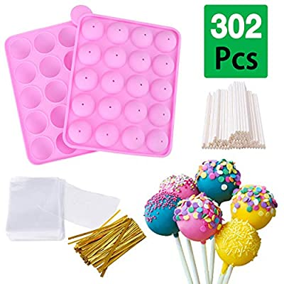 20 Cavity Silicone Cake Pop Mold Set, Ball Shaped Lollipop Maker Kit with 100 Pcs Paper Cakepop Sticks, Candy Treat Bags, Gold Twist Ties, Baking Pan For Cake Pop, Lollipop, Hard Candy, and Chocolate