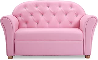 Costzon Kids Sofa, PU Leather Upholstered Couch, Sturdy Wood Construction, Armrest Chair for Preschool Children, ASTM and CPSIA Certified (37-Inch Pink Couch)