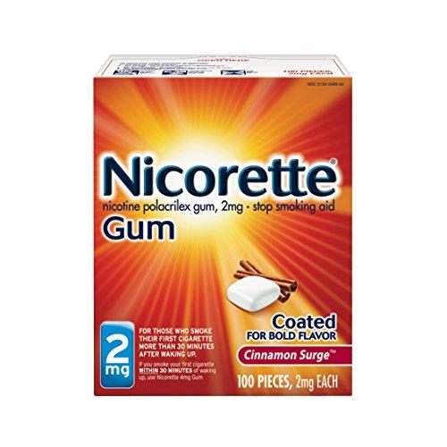 Nicorette 2mg Nicotine Gum to Quit Smoking - Cinnamon Surge Flavored Stop Smoking Aid, 100 Count