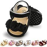 LAFEGEN Infant Baby Girls Summer Sandals with Flower Soft Sole Newborn Toddler First Walker Crib Dress Shoes, 6-12 Months Infant,03 Black