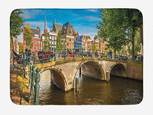 ABAKUHAUS Amsterdam Tappetino da Bagno, Vecchio Ponte su Un Canale, Vasca Doccia WC Tappeto in Peluche con Supporto Antiscivolo, 45 cm x 75 cm, Multicolore