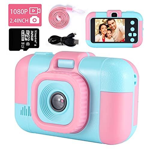 """Kinder Kamera, TekHome Mädchen Geschenke 4 5 6 7 Jahre,Spielzeug ab 3-10 Jahre, Geburtstagsgeschenk für Kinder,2,4\"""" Digitalkamera,40MP 1080P HD Fotoapparat Kinder,32GB SD Karte-Rosa"""