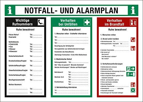 Notfall- und Alarmplan, Verhalten bei Unfällen und Verhalten im Brandfall, 700 x 500 mm, Schild aus Kunststoff, Betriebsaushang, 70 x 50 cm